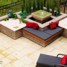 1 - B. Rocke Landscaping - Winnipeg Landscaping - Cedar Bench with Fountain - Barkman Travertine