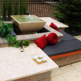 3 - B. Rocke Landscaping - Winnipeg Landscaping - Cedar Bench with Fountain - Barkman Travertine-2