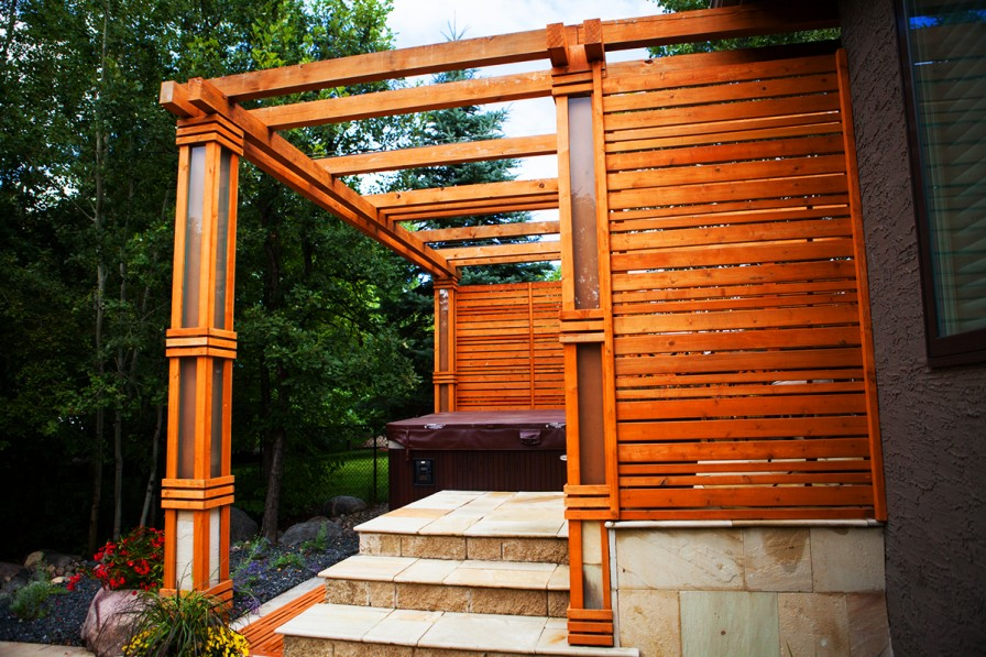 Private Hot Tub Pergola | B. Rocke Landscaping | Winnipeg, Manitoba