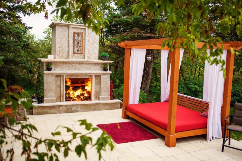 Custom Tyndall Stone Fireplace, Daybed | B. Rocke Landscaping | Winnipeg, Manitoba