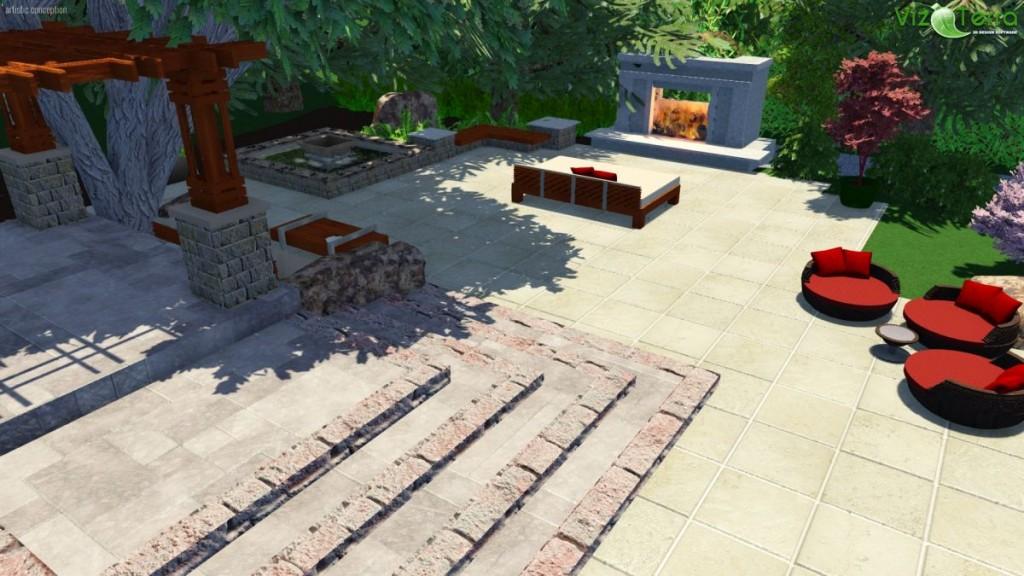 Virtual Travertine Patio, Steps | B. Rocke Landscaping | Winnipeg, Manitoba