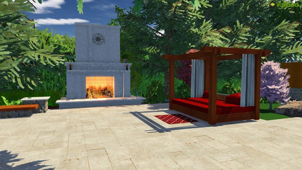 Virtual Tyndall Stone Fireplace, Daybed | B. Rocke Landscaping | Winnipeg, Manitoba