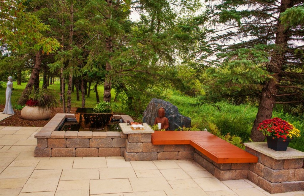 Water Feature, Cedar Bench | B. Rocke Landscaping | Winnipeg, Manitoba