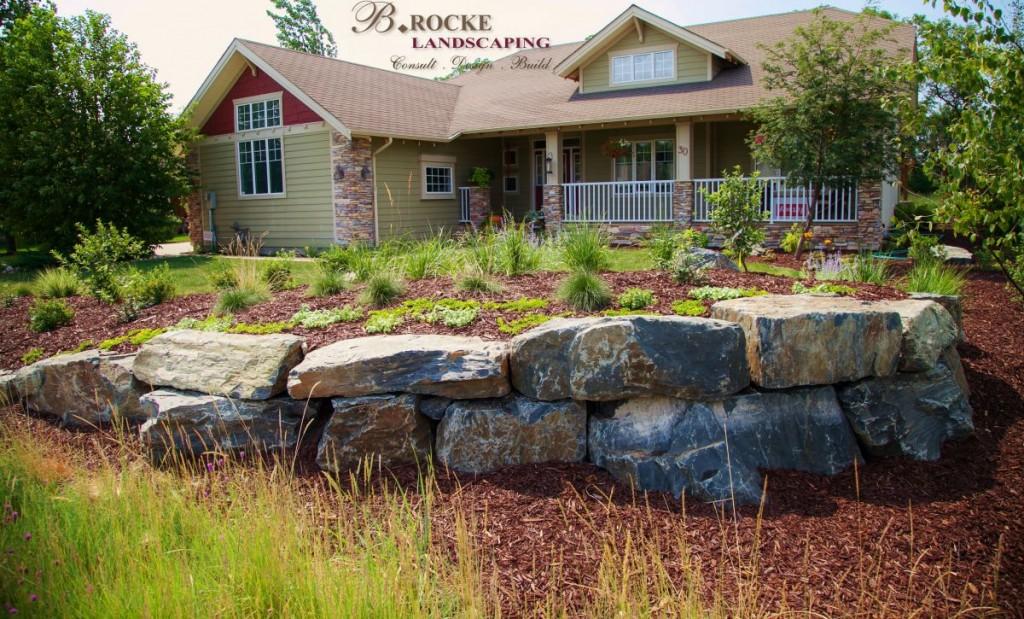 Black Granite Rock Wall | B. Rocke Landscaping |Winnipeg, Manitoba